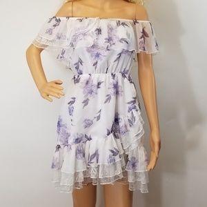 Tobi Dress Marion Off Shoulder Skater Floral